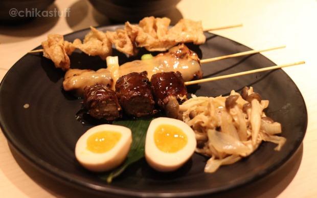 beef enoki, chicken leg miso, chicken skin shio
