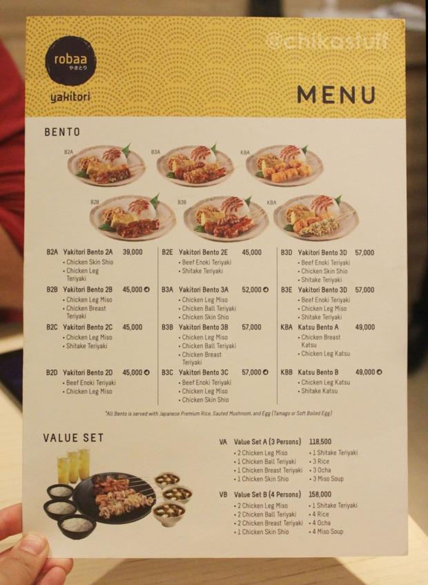 menu robaa yakitori
